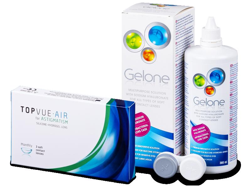 TopVue Air for Astigmatism (3leče) + tekočina Gelone 360 ml